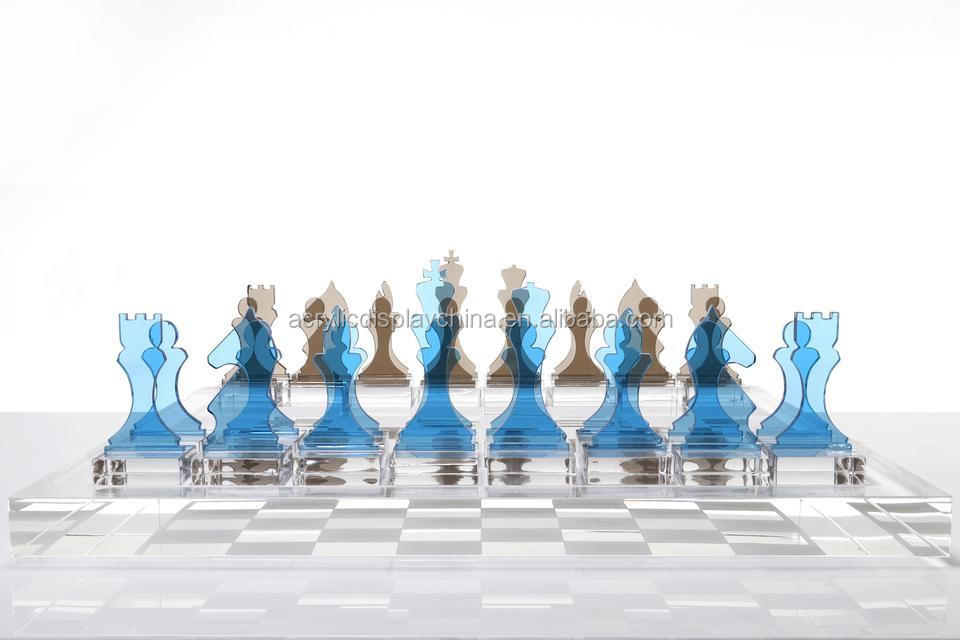 Factory wholesale acrylic chess set lagoon slate grey Educational movement Blue acrylic chess piece