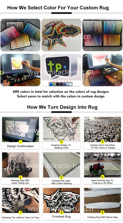 Alfombra personalizable con logotipo comercial 3D, tapete de área redonda hecha a mano