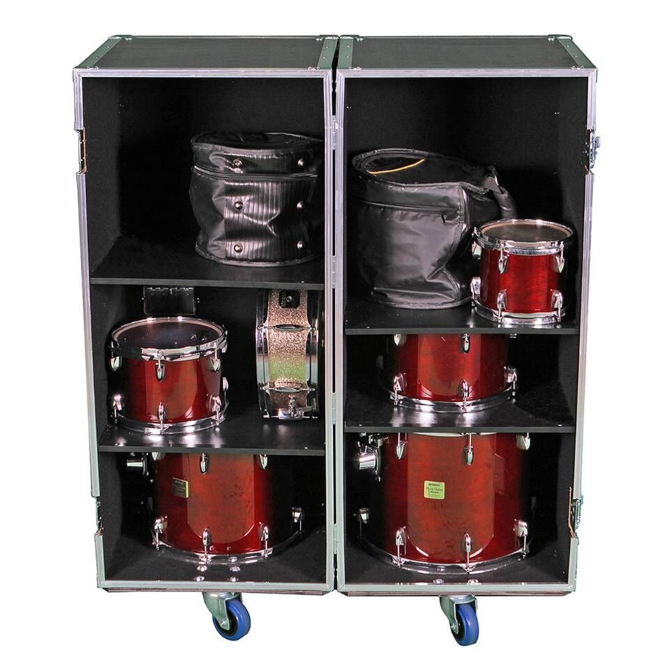 2 size combo custom ATA drum set road flight case with adjustable shelves M20191223 for pdb