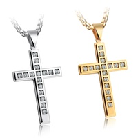 Personalized Steel Religious Stainless Steel Jesus Necklace Crystal Diamond Cross Pendant