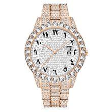 MissFox арабские цифры мужские s часы лучший бренд класса люкс rolexable_часы мужские 18 К золото большой алмаз Xfcs классические мужские часы со льдом(Китай)