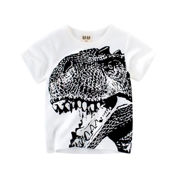 Zhongshan factory export dinosaur printed  round neck kid t shirt for boys aged 1  8 years