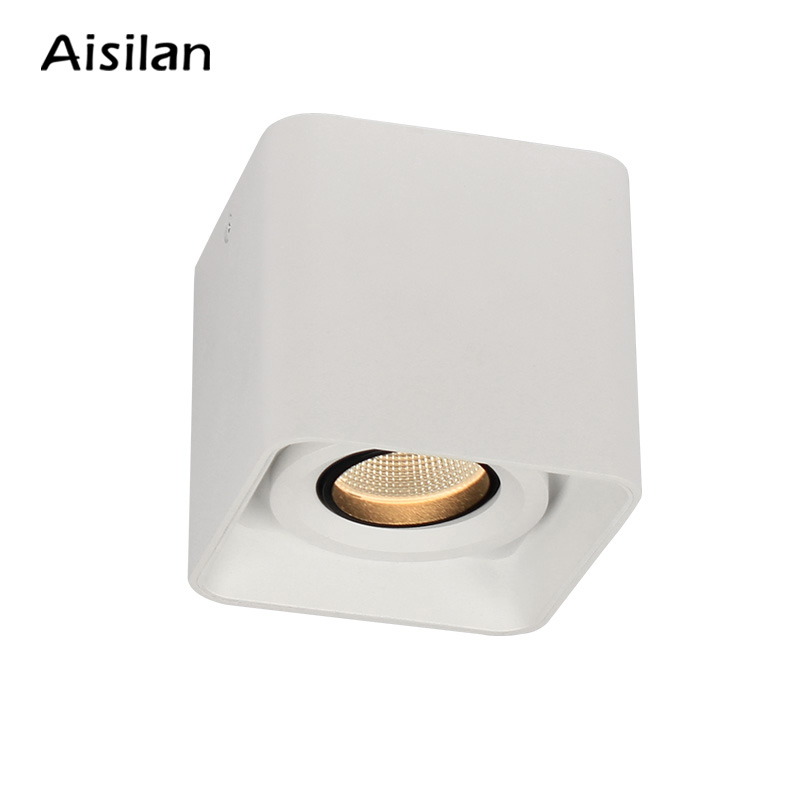 Aisilan elegant anti-glare Surface mounted Square type spot light ceiling cob led downlight