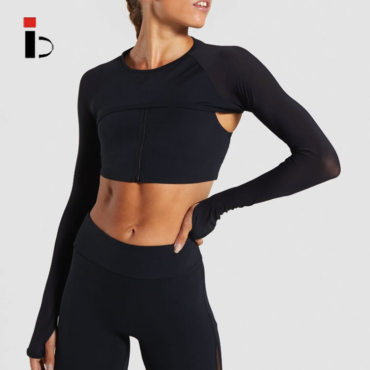 2020 Activewear Wholesale Womens Two color stitching sexy sports fitness shirt