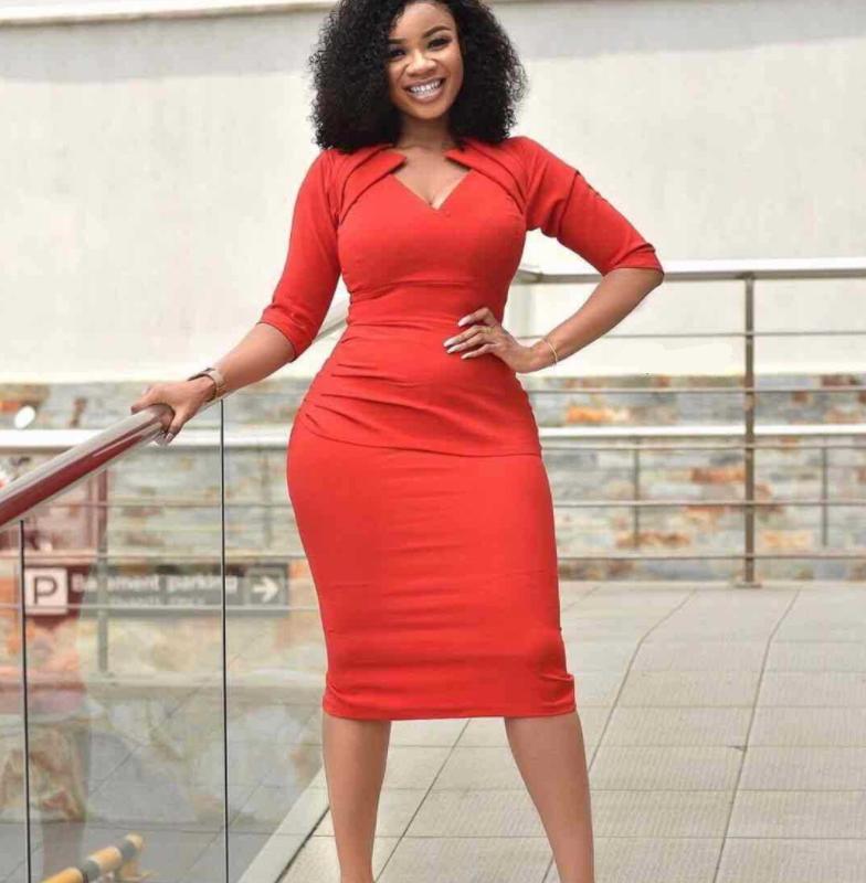 African dress new V collar pure color temperament long dress five-minute sleeve women's wear