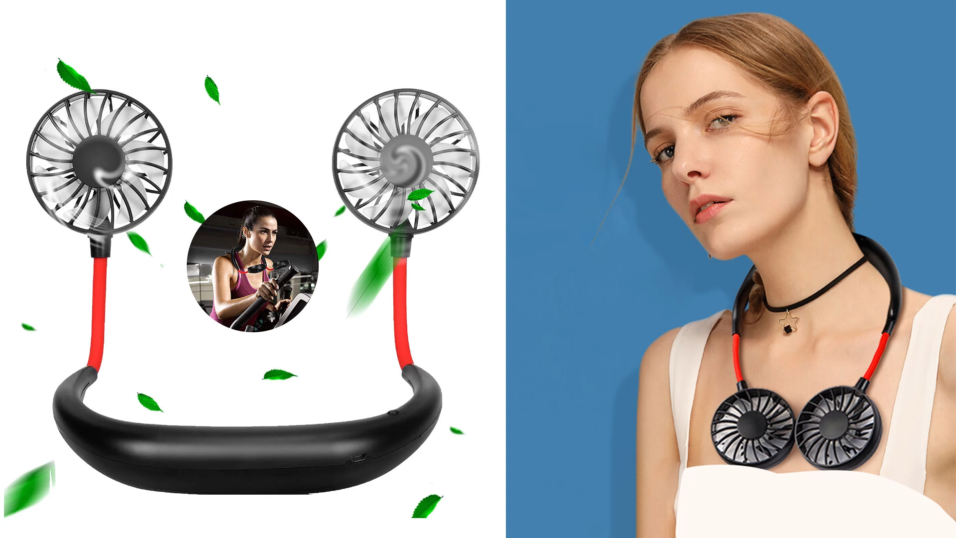 2020 Best Seller 3 Winds Speed ventilador recargable Portable Folding Hand-Free Rechargeable Neckband mini Lazy Hanging Neck Fan