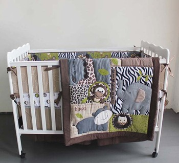 Wholesale Low MOQ Elephant Design Polyester Cotton Baby 4 Piece Nursery Crib Bedding Set for Boys and Girls