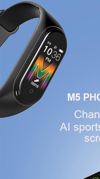 2020 جديد حار M5 الرياضة ساعة ذكية الرجال الفرقة بلوتوث جهاز تعقب للياقة البدنية يدعونني ساعة ذكية تلعب الموسيقى سوار الذكية