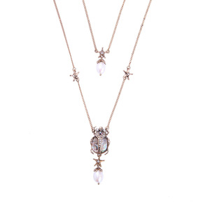 Victorian Jewelry Combine Earrings Fashion Beetle Genuine Pearl Pendant Multi Layers Necklace