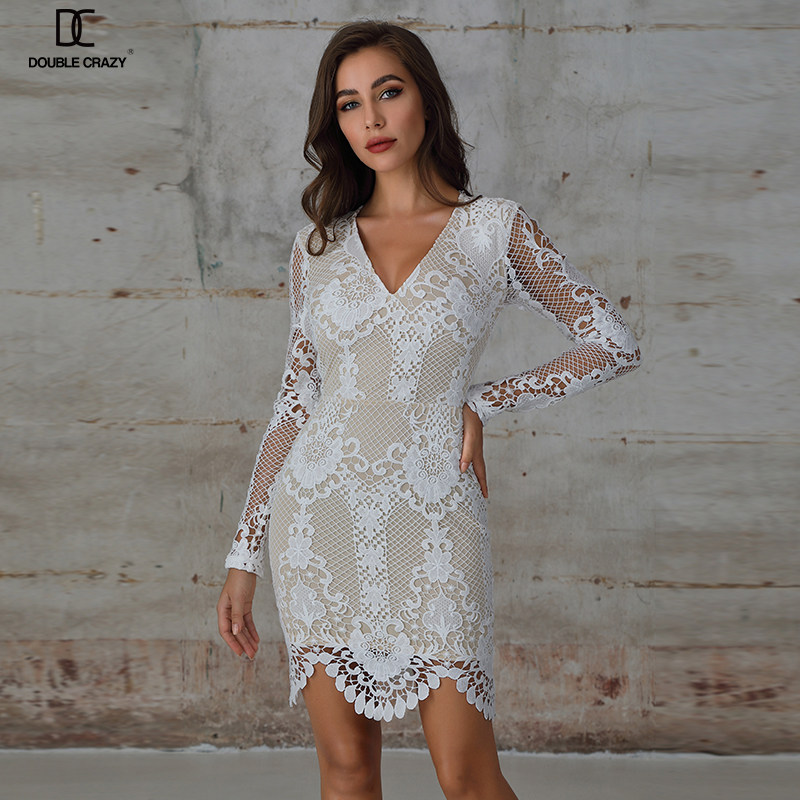 WEIXIN New Arrival Jacquard Long Sleeve White <strong>Lace</strong> Hollow Bodycon Wrap Casual Dress <strong>Women</strong> <strong>Clothing</strong>