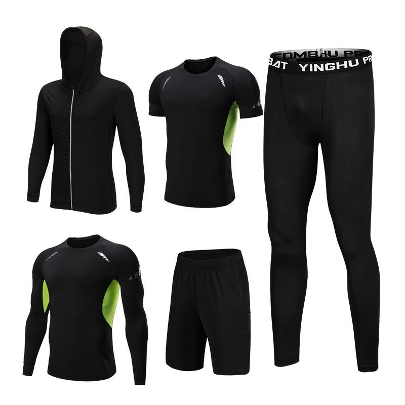 5 шт. набор мужской спортивный костюм для спортзала, фитнеса, компрессионный спортивный костюм из полиэстера, спортивный костюм