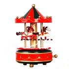 2019 Hot Sale Wooden Christmas Decoration Musical Box Mechanical Carousel