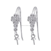 SSE242 Dangle Earring DIY Accessory for Women Girls 925 Sterling Silver Clear Zircon Pearl Earring Findings