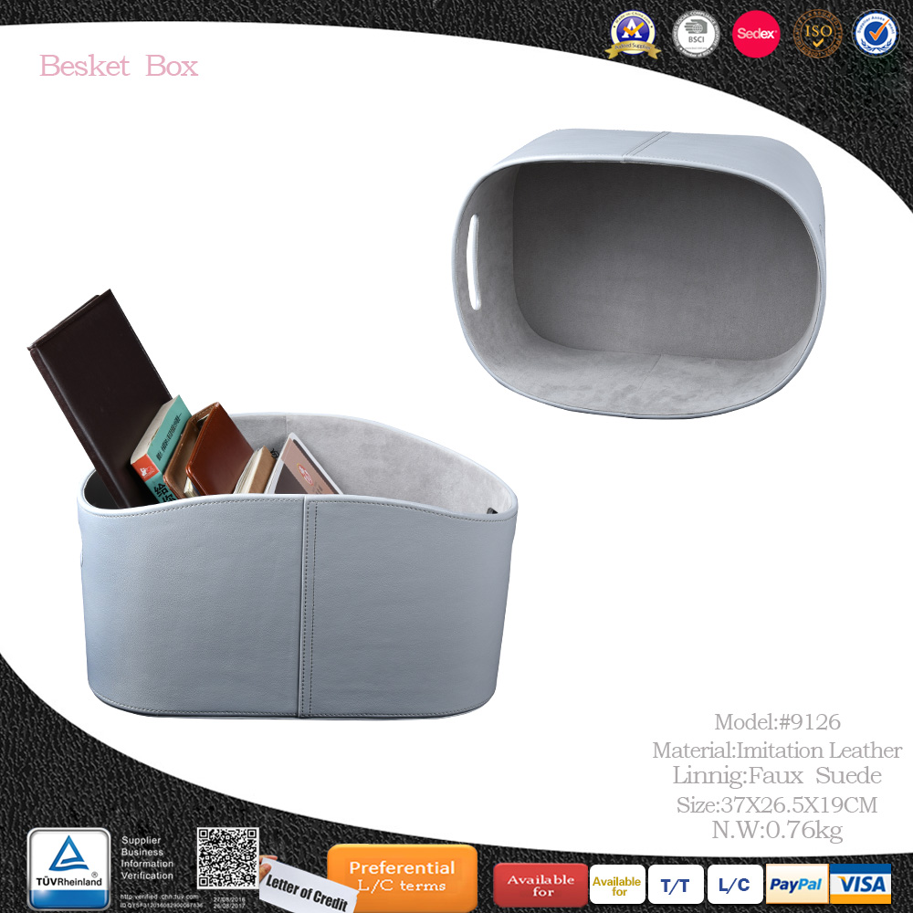 Custom Handmade Large Space Hidden Handle Leather Gift Storage Basket