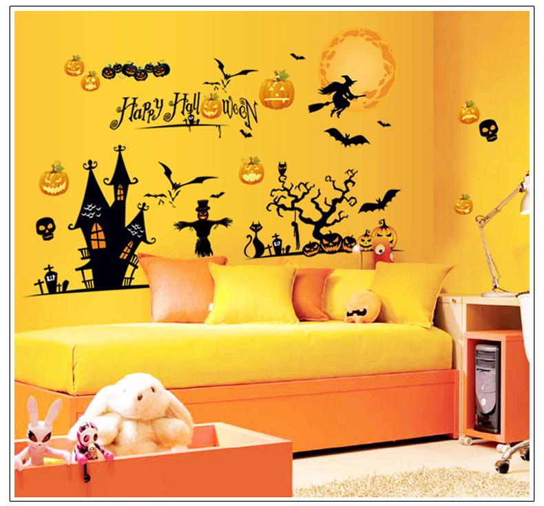 Halloween morcego preto bruxa jack-o '-lanterna adesivos etiquetas da janela pode ser removido a partir de quartos