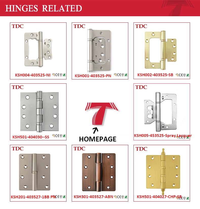 """4""""X3.5""""X2.5mm 2 Hooks Flush Steel Door Hinge Satin Nickel"""