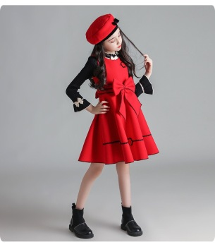 Red baby girl dress design winter kids wear children frocks designs for winter