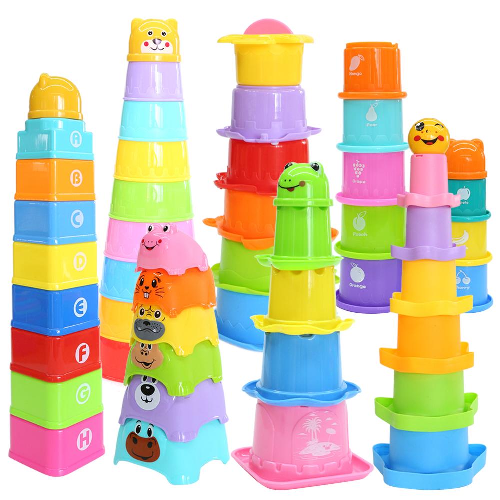 2020 neue Juguetes bunte pädagogisches viele arten baby stapel tasse bad dusche geschenk kunststoff baby spielzeug