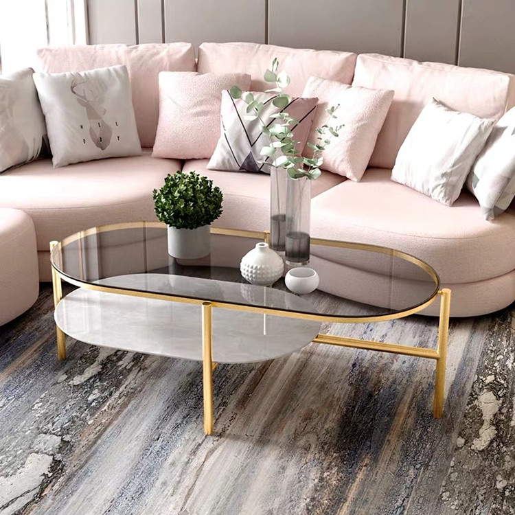 New Nordic fashion iron tempered glass coffee table