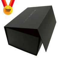 Luxury Custom Logo Printed Recycled Cardboard Packaging Magnetic Closure Black Flat Foldable Paper Gift Boxes