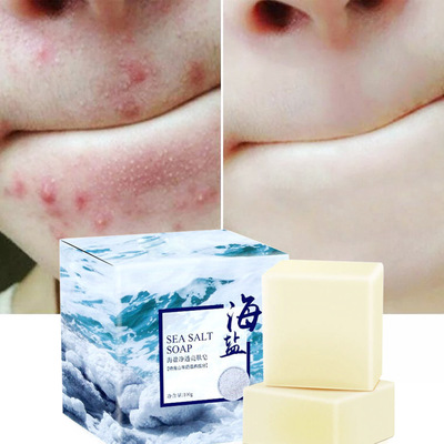 100g Natural Organic Sea Salt Essential Oil Soap Whitening Handmade Goat Milk Soap For Remove Skin Acne Deep Cleansing Face Care