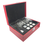 Housewarmings Red Leather Box 2 Pieces Glasses And Square Ice Cubes Gift Set