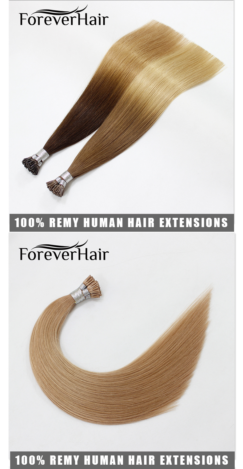 Forever high quality 100 real remy human blonde # 613 / 18 double drawn 2g strands i tip hair extensions