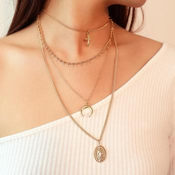 Ruigang 4 Choker and Ethnic Style Multi Layer Virgin Mary Moon Cross Pendant Necklace For Girls