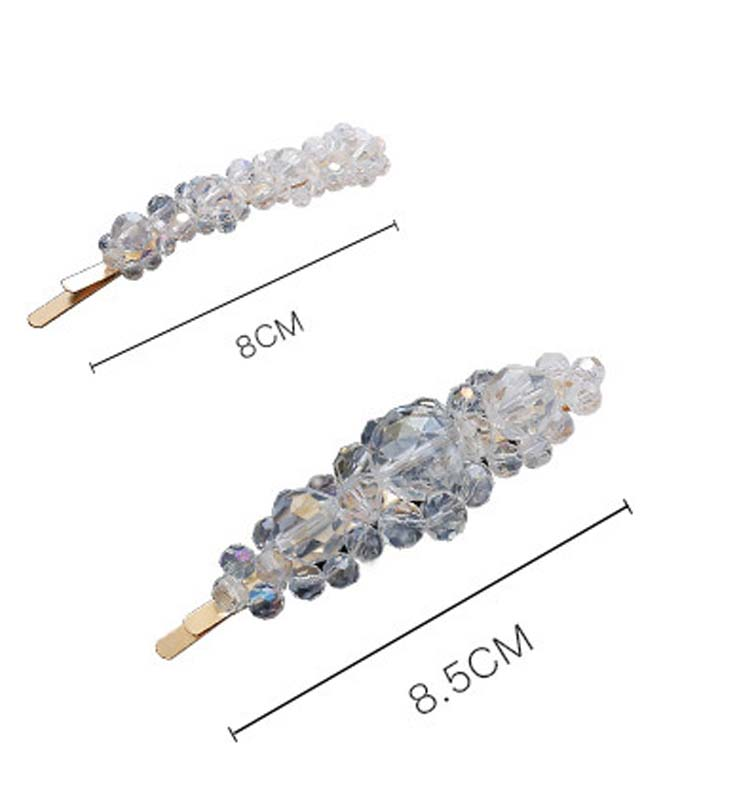 Fashion crystal one-word clip versatile beaded hair clip girl hai clip