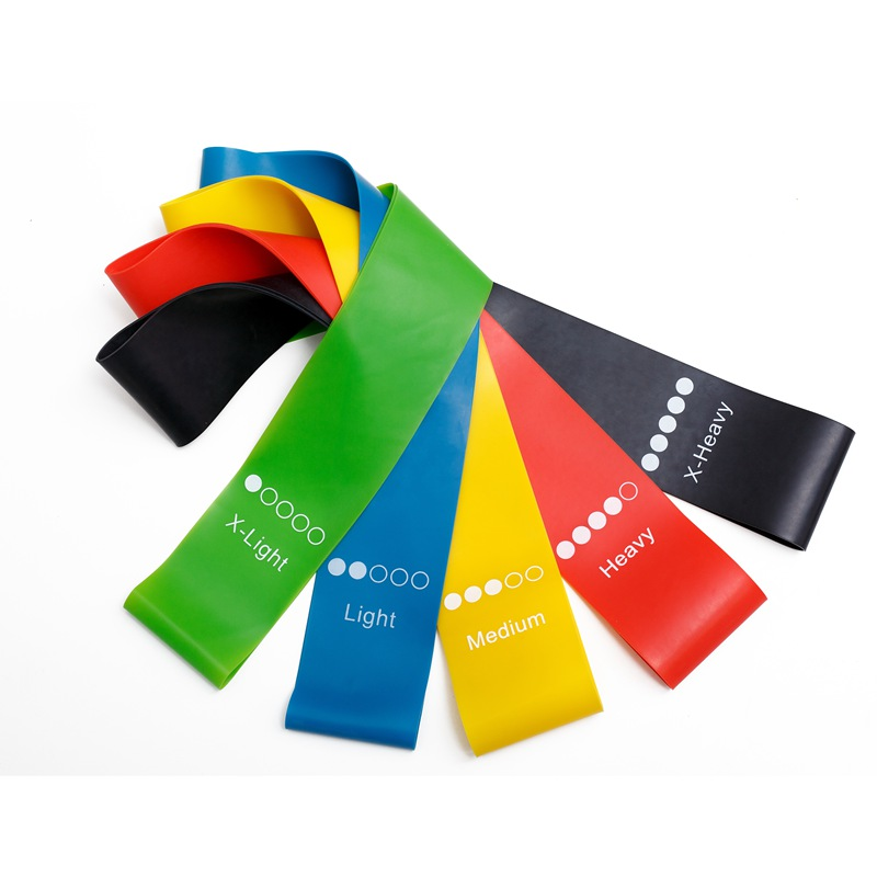 Home Exercise Latex elastic fitness Loop Resistance Bands with 5 Different Resistance Levels for Gym&Training, Black, red, yellow,blue, green