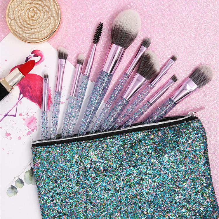10 adet özel Bling makyaj fırçası sevimli seti çantası toptan bayanlar yüz hiçbir etiket makyaj fırçası es