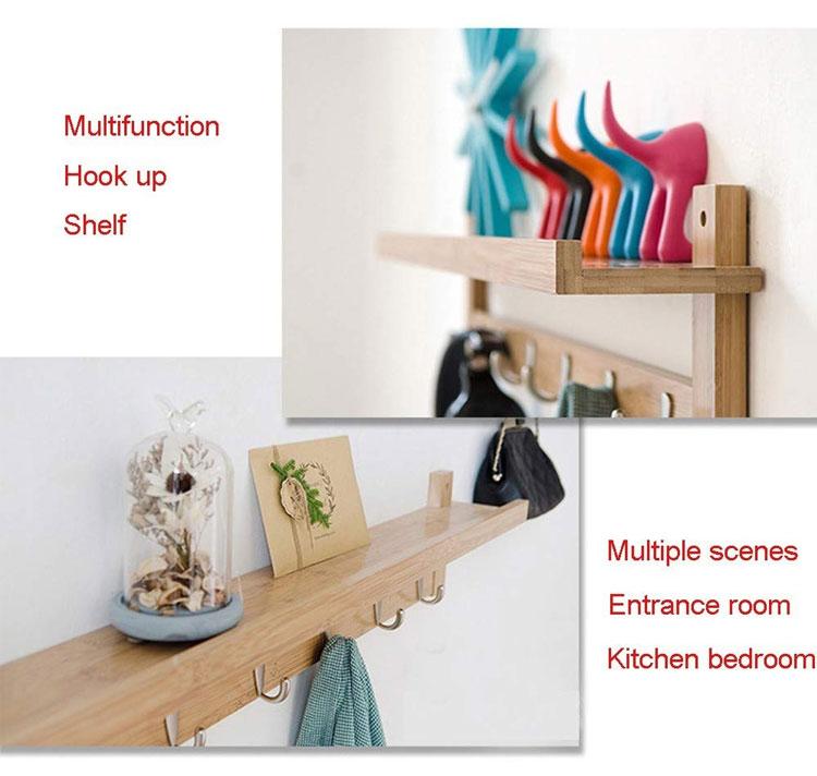 5 Metal Hooks Wall-Mounted Hook Bamboo Coat Rack For Bedroom Bathroom Foyer Hallway 5