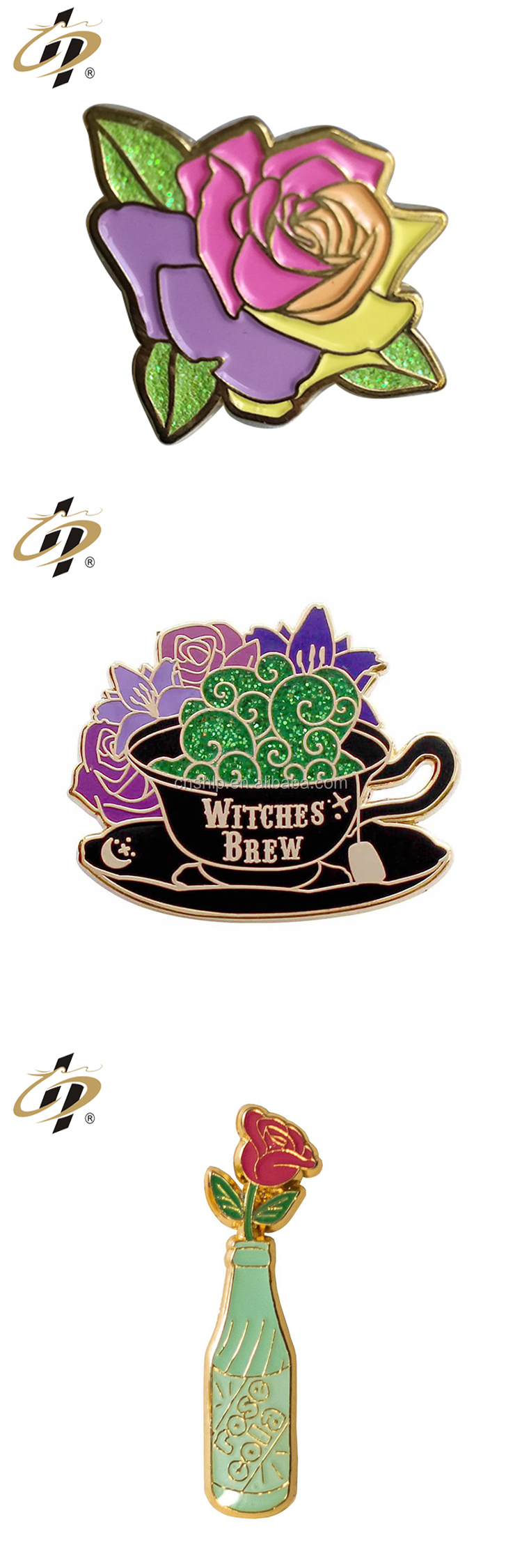 Factory making high quality custom flower enamel metal glitter lovely pins
