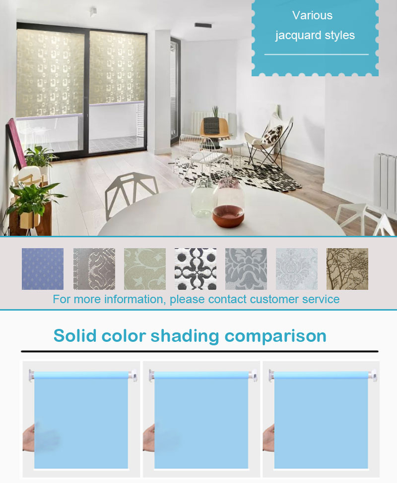 Blackout jacquard fabric blind curtain roller automatic window blinds