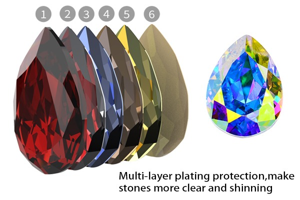 10 x Oval point arrière Gems Crystal Strass Mixed 10 mm