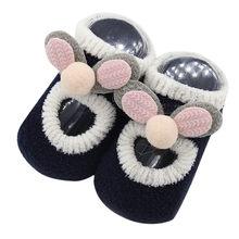 Зимние Носки с рисунком для новорожденных детские Нескользящие хлопковые носки-тапочки с милыми мультяшными ушками детские носки для малы...(China)