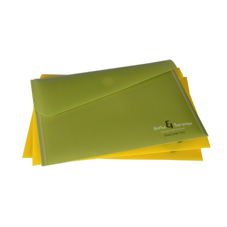School Office Use PP  Hard Plastic Double Buckle Snap Envelope Document File Folder with Customized