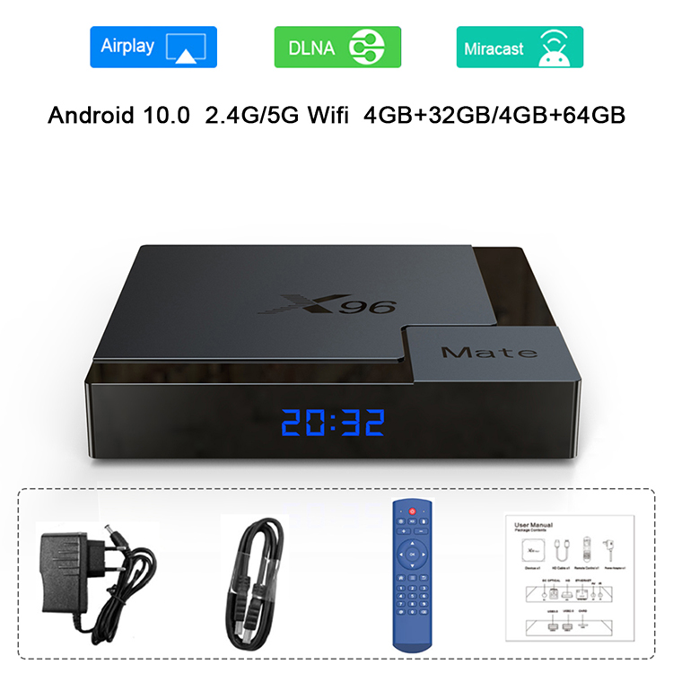 Android 10.0 X96 Mate TV Box 4G 32G BT5.0 2.4G 5G Dual WIFI Android Set Top Box Media Player X96Mate 4K TVBOX Allwinner H616