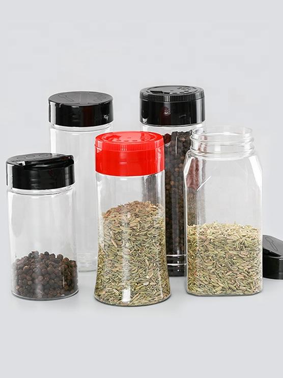 3 oz 4 oz Custom Shape Empty PET Plastic Spice Refillable Jar Seasoning Sprinkle Powder Bottles