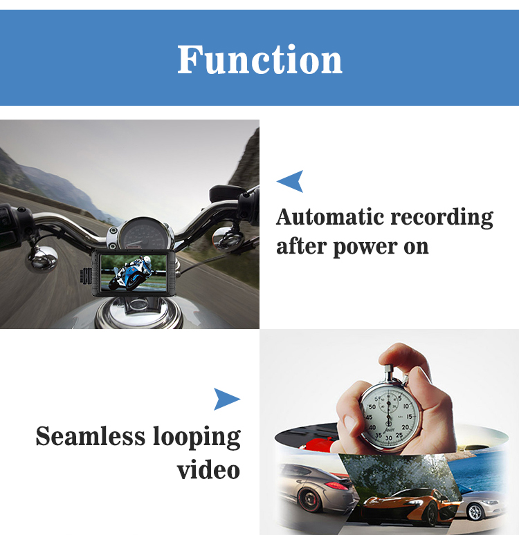 motorcycle DVR camera, motorcycle drive video recorder for motor bike 1080P full HD motorcycle dash cam