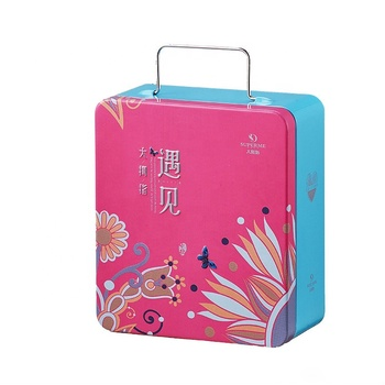 Hot Sale Square Empty Biscuit Tin Box Metal Cookie Packing Tin Box