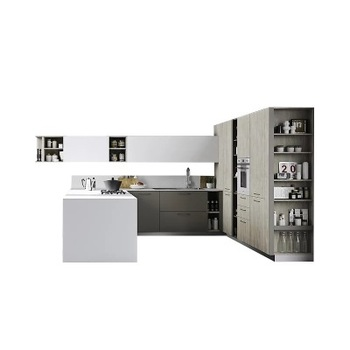 Simple modern Design Grey Kitchen Exquisite Solid Wood  Kitchen Cabinet Set with cheap chipboard  shaving board  MDF Wholesale