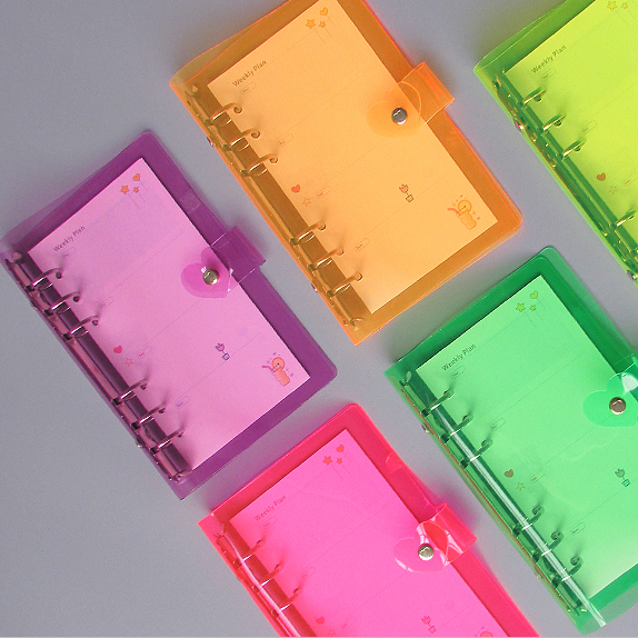 standard coloful clear planner file folder mini pvc a5 a6 a7 6 ring binder for 6 hole paper file