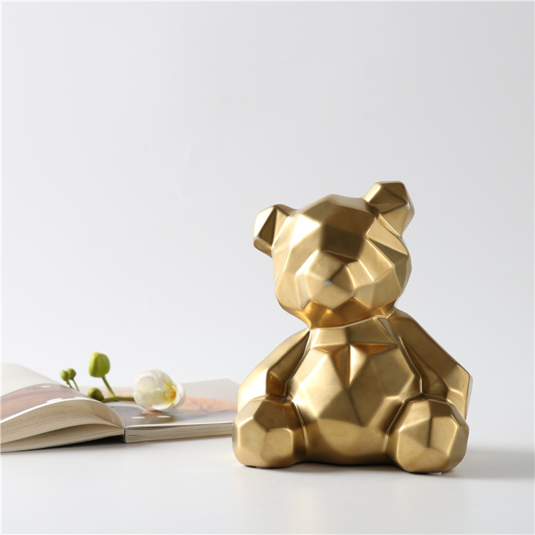 Geometric cutting design custom logo small cute hotel decorative bear ornaments modern gift item home decoration pieces