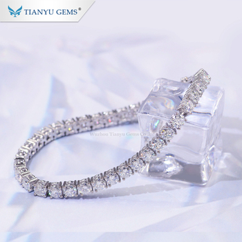 Tianyu Gems customized 4.0mm H&A cut moissanite diamond pure 14k white gold tennis bracelet