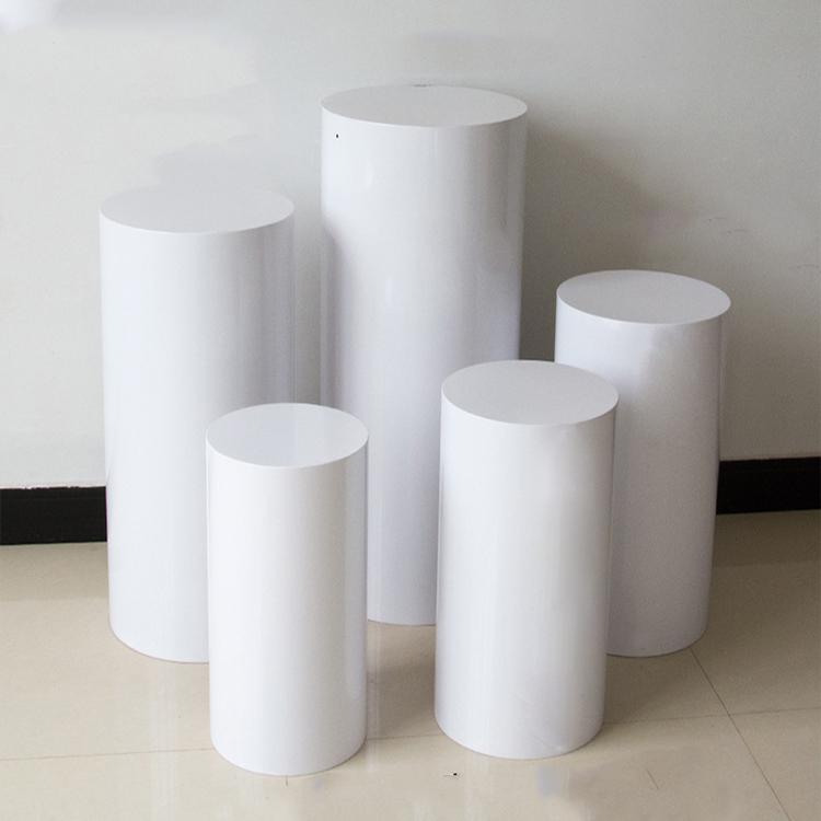 Acrilico Cilindro Tondo Plinths Cilindrico bianco Torte & Basamento di Fiore Display Plinths per Mostre Eventi Matrimoni