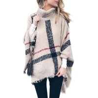 Top Women Neck Turtle Cloak Sleeveless High Neck Plaid Poncho Sweaters With Tassel