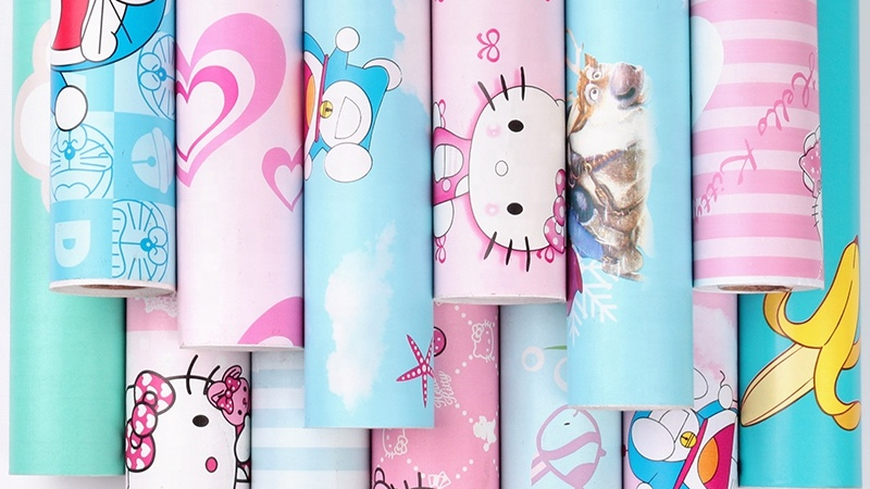 Estilo de dibujos animados 3d pared decoración niños papel pintado