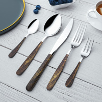 Yifan Founder Tableware Inox Amazon Hot Stainless Steel Silverware Flatware Knife and Fork Set with Wooden Handle
