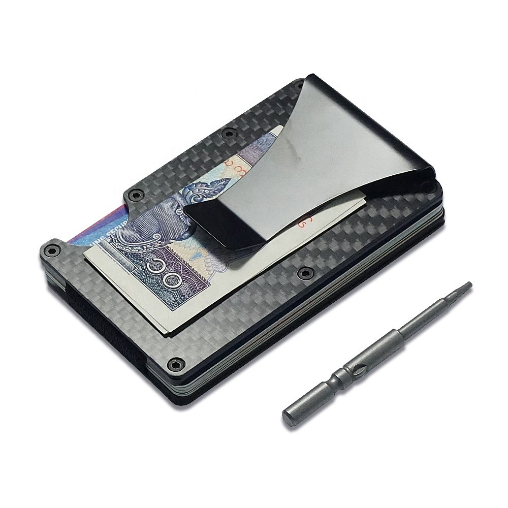 Credit Card Pockets Unisex New Fashion Slim Carbon Fiber Clip Wallet Purse Gift